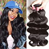 ALI JULIA Hair 10A Grade Malaysian Virgin Body Wave Hair Weft Cheap 100% Unprocessed Human Hair Weave Extensions Natural Black Color 95-100g/pc(14 16 18 Inch)