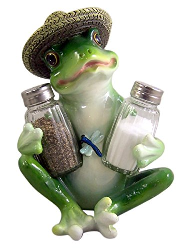 Hoppy Home Country Picnic Frog Salt and Pepper Shaker Holder (Shakers Included)