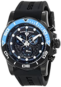 """Swiss Legend Men's 21368-BB-01-EBLAB """"Avalanche"""" Stainless Steel Watch with Black Silicone Band"""