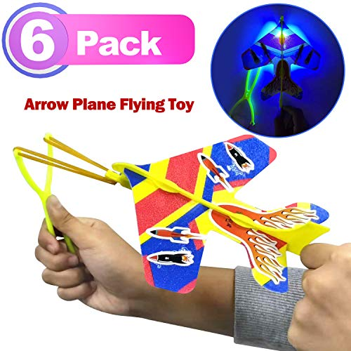 6 Pack Arrow Plane LED Plane DIY Model Arrow Rocket Helicopter Flying Toy+Slingshot+Flame Stickers for Boys Girls Glow in The Dark Birthday Holiday Party Supplies ()