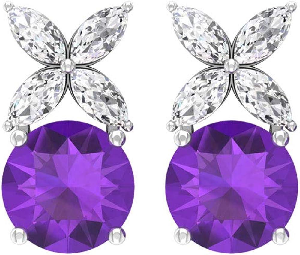 Aretes de amatista solitario de 0,8 ct, 0,24 ct IGI certificado en forma de marquesa, IJ-SI, claridad de color, pendientes de piedras preciosas de diamante, tornillo hacia atrás
