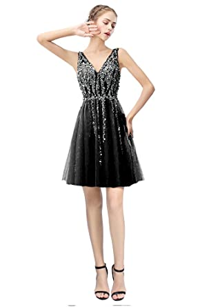 b6a198b8ee Image Unavailable. Image not available for. Color  Still Waiting Sexy Deep  V Neck Homecoming Cocktail Dress Short Sequins ...