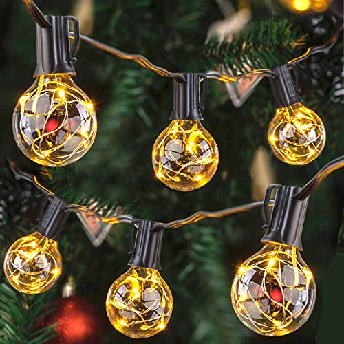 Afirst LED Outdoor String Lights 38 Ft Patio String Lights with 33 Globe Bulbs Christmas Lights for Garden/Backyard Party/Wedding Decoration-Black Cord