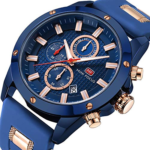 Men Business Watch, MINI FOCUS Quartz Chronograph Watches (Blue, Three Eyes, Sport) Silicon Band Strap Fashion Wristwatch for Men Gift