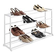 Whitmor 6780-3139-WHT White Resin 20-Pair Shoe Rack