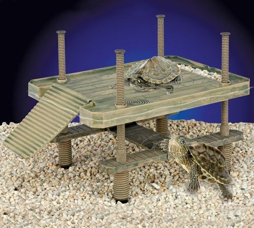 [해외]Reptology 대형 거북이 부두 플로팅 플랫폼, 램프 & amp; /Reptology Large Turtle Pier Floating Platform w Ramp & Floating Calcium Block
