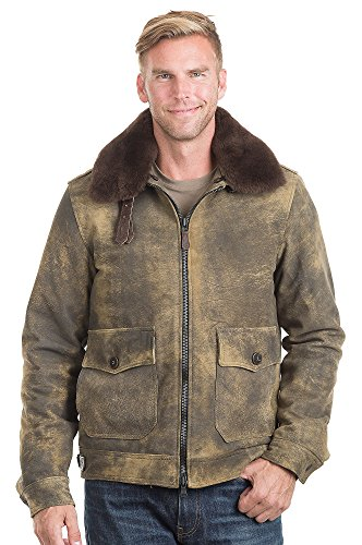 Cockpit Tomahawk Distressed Lambskin Leather Bomber Jacket, JUNGLE, Size XLARGE (44-46) (Mens Distressed Bomber Jacket)