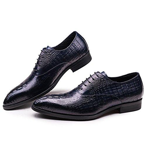 Tuxedo Omdb pointed Crocodile Navy Mens toe Cowhide Shoes Blue nOXvwqO