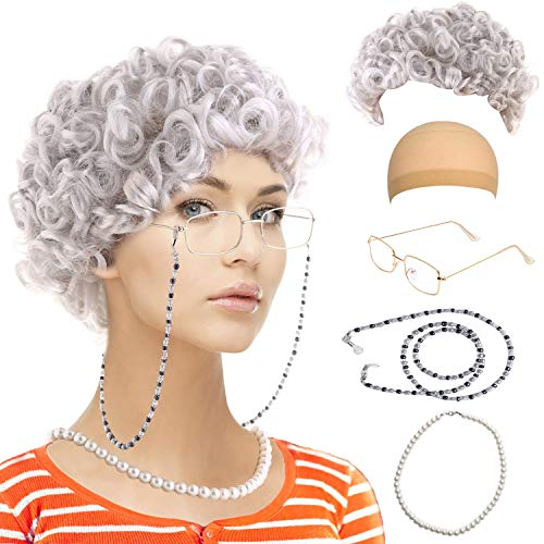 Old Lady Cosplay Set-Grandmother Wig,Wig Caps,Madea Granny Glasses, Eyeglass Retainer Chain,Pearl Necklace(5 Pieces) Fits All (Style-5) -