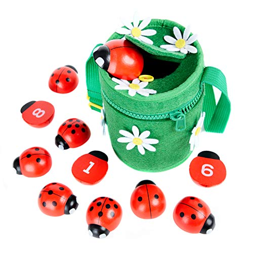 Counting Ladybugs - Montessori Counting Toys for Toddlers - Wooden Educational Learning Toy for Girls & Boys 2 3 4 Year Old - Learn Numbers & Develop Fine Motor Skills - Math Preschool Kids Activity