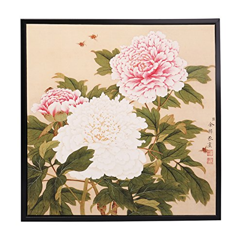 INK WASH Modern Traditional Asian Wall Art Pink White Chinese Peony Painting Flowers Painting Fine Art Prints Paintings for Home Office Decoration Framed Ready to Hang 13