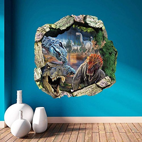 3D Wall Sticker Surper® 3D Dinosaur Wall Stickers Art Decals Mural Wallpaper Decor Home Room DIY Decoration (Dinosaurs Wall Art)