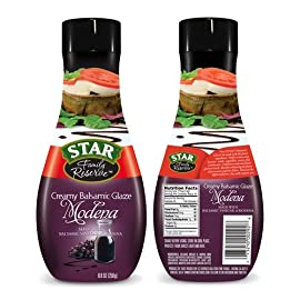 Star Family Reserve Creamy Balsamic Modena Glaze, 8.8 oz 108 Drizzle a few lines of Modena glaze over salads, pasta or pizza A delicious and convenient gourmet touch Sweet, tangy flavor