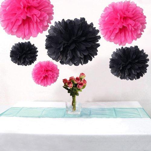 Set of 6 Hot Pink Black Wedding Flower DIY Party Tissue Pom