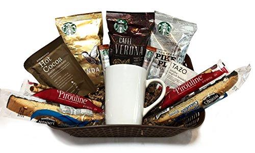 Coffee Tea Cocoa Mug Gift Set with Starbucks Via Coffee, Starbucks Hot Cocoa, Tazo Tea, Honey, N ...