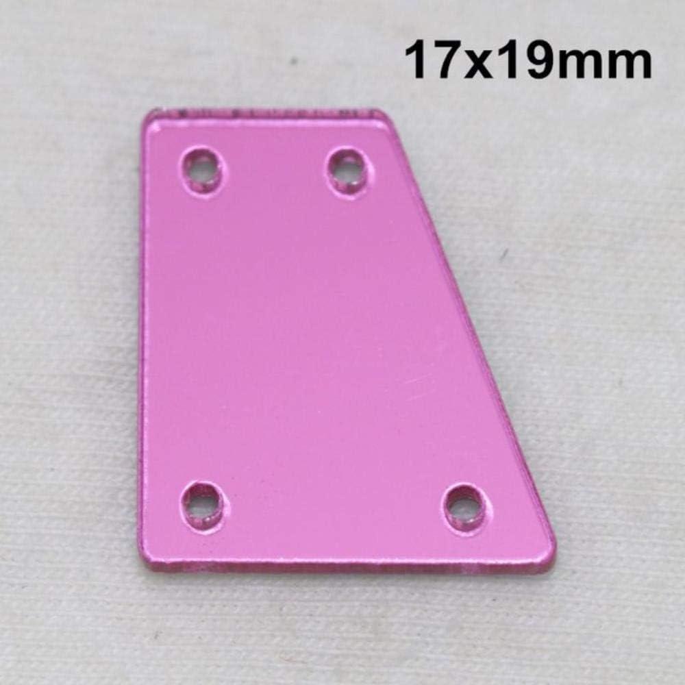 PENVEAT Espejo acrílico Rosa Cosido en Diamantes de imitación Espejo Plano de Bricolaje Acrílico Cosido en Piedras con Agujeros para Coser, A09-17x19,10Pcs