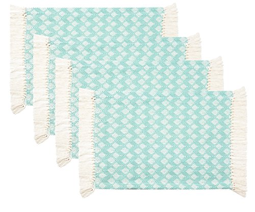 Four Placemats - Sticky Toffee Cotton Woven Placemat Set with Fringe, Scalloped Diamond, 4 Pack, Aqua, 14 in x 19 in