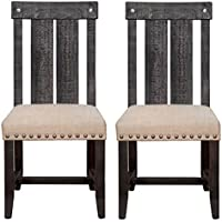 Modus Furniture 7YC966W Yosemite Solid Wood Dining Chair, Black Pine, 2-Pack