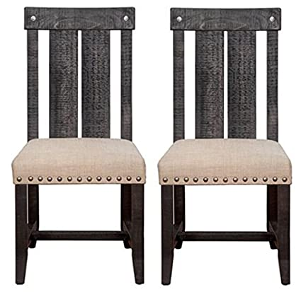 Modus Furniture 7YC966W Yosemite Solid Wood Dining Chair, Black Pine, Set  Of Two