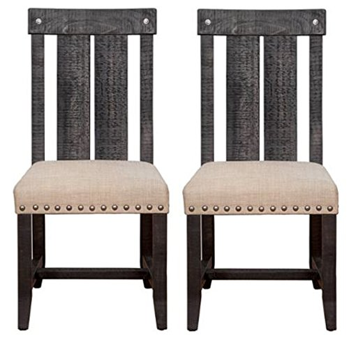Modus Furniture 7YC966W Yosemite Solid Wood Dining Chair, Black Pine, 2-Pack (Pine Chair Solid)