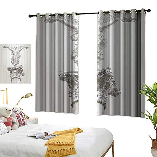 """Warm Family Insulated Sunshade Curtain Sculptures Angel Greek Figure Muse Statue on Neoclassic Pillars Mythology Ancient Relic Print Darkening and Thermal Insulating 63"""" Wx63 L"""