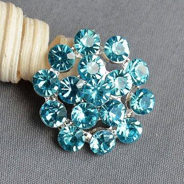 5 Teal Blue Aqua Blue Rhinestone Button Crystal Embellishment Wedding Brooch Bouquet Cake Hair Comb Shoe Clip DIY Supply BT546