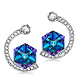 SIVERY Magic of Love Stud Earrings with Cubic Swarovski Crystals, Jewelry for Women Gifts for Her