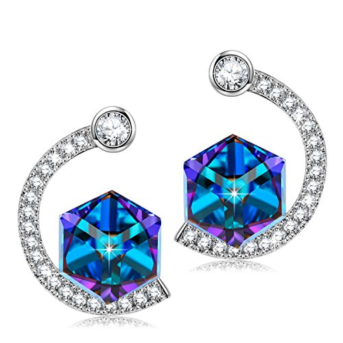 SIVERY Magic of Love Stud Earrings with Cubic Swarovski Crystals, Jewelry for Women
