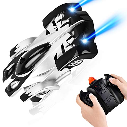 Rainbrace Remote Control Car for Boys Wall Climbing RC Cars Boys Toys for Floor or Wall 360° Rotation USB Rechargeable Gravity Defying RC Toys for 6-10 Year Old Boys - Black