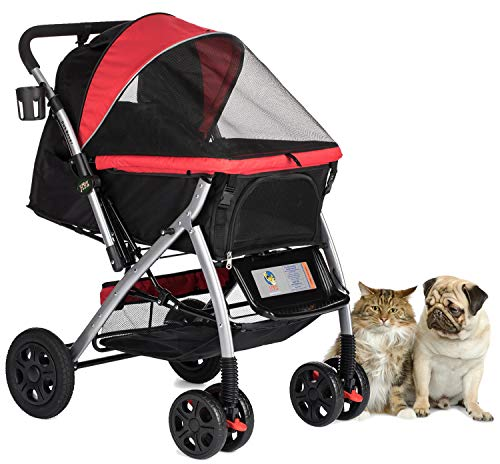 - HPZ PET Rover Premium Heavy Duty Dog/Cat/Pet Stroller Travel Carriage with Convertible Compartment/Zipperless Entry/Reversible Handlebar/Pump-Free Rubber Tires for Small, Medium and Large Pets (Red)