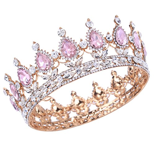 Stuff Crystal Crown Bridal Tiaras Prom Party Wedding Bridesmaid Hair Piece with Bobby Pins (Gold/Pink)