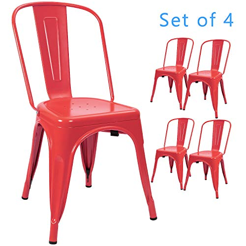 Devoko Metal Indoor-Outdoor Chairs Distressed Style Kitchen Dining Chairs Stackable Side Chairs with Back Set of 4 (Red)