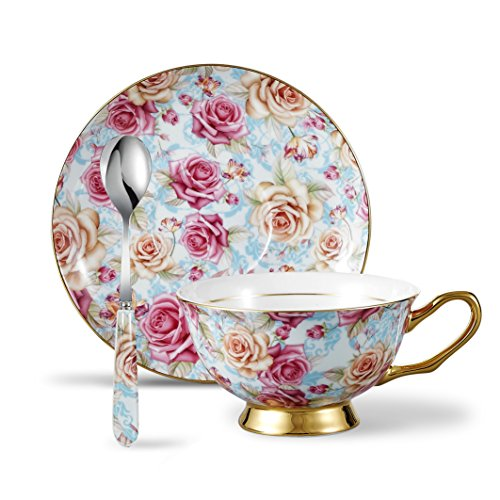 Panbado Bone China 3-Piece 6.8oz Tea Saucer Spoon Vintage Porcelain Coffee Cup Set, Service for 1, Flower, 200ml, Cup & Saucer, Rose ()