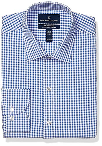 (BUTTONED DOWN Men's Slim Fit Tech Stretch CoolMax Easy Care Dress Shirt, Navy Gingham, 17.5