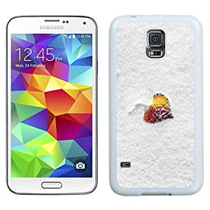Easy use Cell Phone Case Design with Leaf Winter Snow Simple Clean Galaxy S5 Wallpaper in White