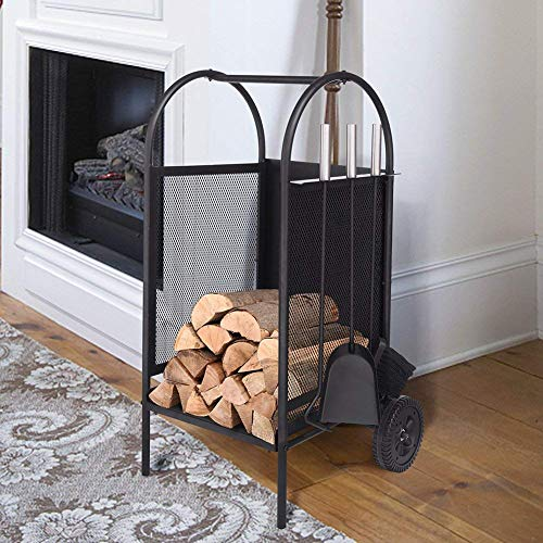 (ART TO REAL Firewood Rack Log Cart with Large Wheels, Firewood Mover with 3 Fireplace Tool Set Fireplace Log Carriers Holders Black Wrought Iron Firepit Firewood Cart, 31.5'' x 14'' x 14'')