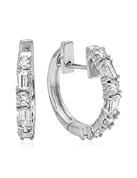 0.60 Carat (ctw) 14K White Gold Round & Baguette Cut White Diamond Ladies Huggies Hoop Earrings