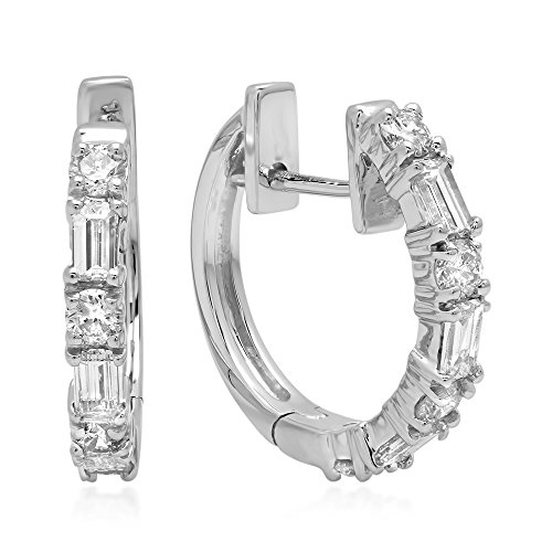 Dazzlingrock Collection 0.45 Carat (ctw) 14K Round & Baguette White Diamond Ladies Huggies Hoop Earrings 1/2 CT, White Gold - Baguette Hoop Gold 14k Diamond