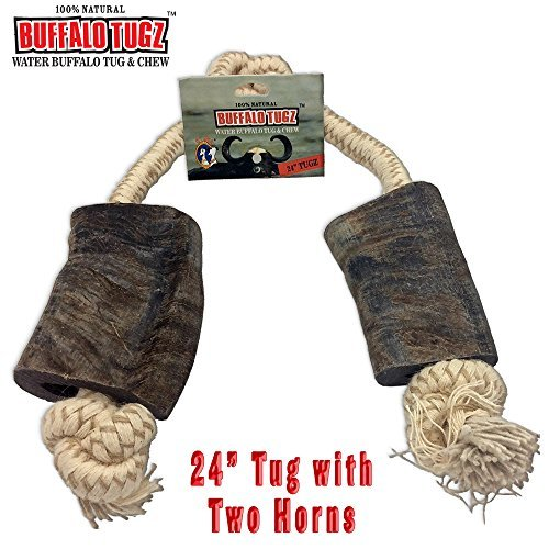 - Buffalo Tugz 24 Inch Water Buffalo Horn and Rope Chew Toy and Tug Toy