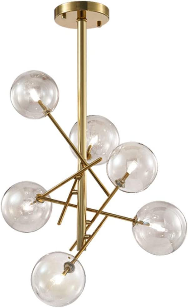 Modo Lighting Modern Sputnik Chandelier Mid Century Gold with Clear Round Glass Vintage Pendant Lighting Fixture