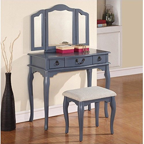 Poundex Bobkona Susana Tri-fold Mirror Vanity Table with Stool Set, Gray by Poundex