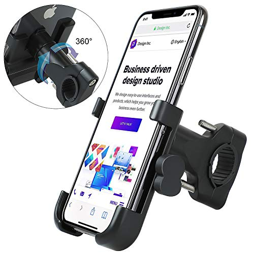 Bike Phone Mount, Bosunny Bike Motorcycle Phone Mount Aluminum Bicycle Cell Phone Holder Accessories Fits iPhone X XR 8 7 6 | Plus, Galaxy S10 S8 S7 | Plus, All 2.4