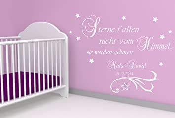 Wandtattoo WUNSCHNAMEN Kinderzimmer Baby Sterne fallen nicht vom Himmel..Geburt