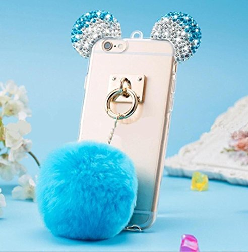 iPhone 6/6S Case,iPhone 6/6S Plush Ball Diamond Ear Cover,Blixy Trendy Bling Crystal Mouse Ear Plush Ball Soft Fluffy Fur Ball Nice Touching Feeling Clear Fit Case For iPhone 6/6S