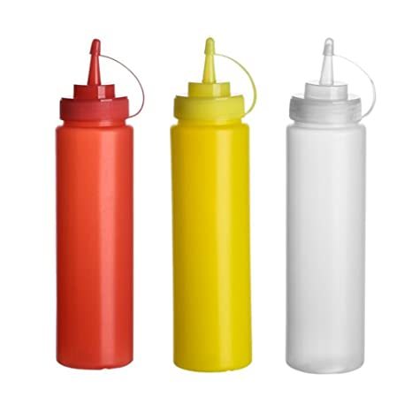 3PCS 16oz/360ML Squeeze Salsa Frascos de condimentos Contenedor almacenamiento mostaza Jarrón con torsión en