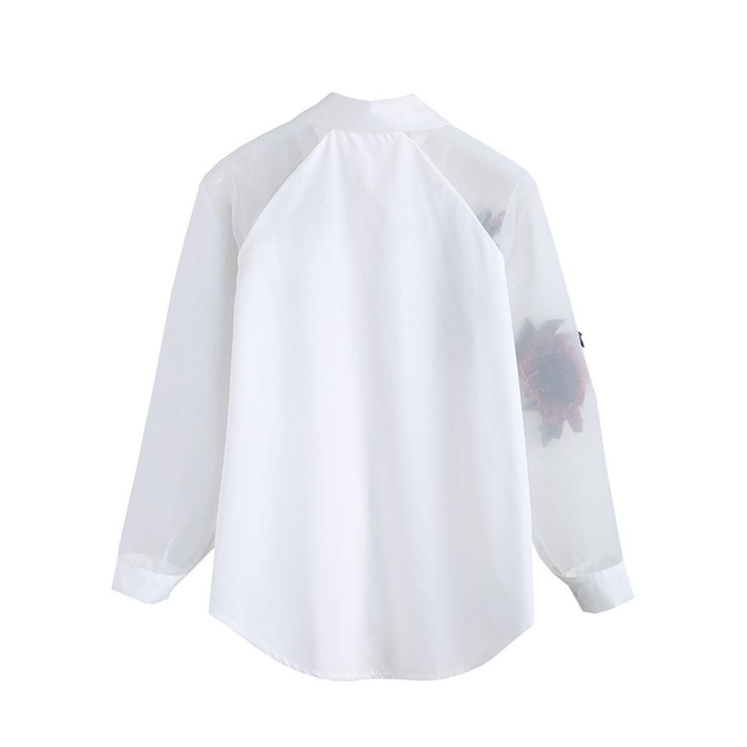 FUNIC Womens Shirt, Women Rose Embroidered Long Sleeve Shirt Mesh Yarn Blouse Tops at Amazon Womens Clothing store: