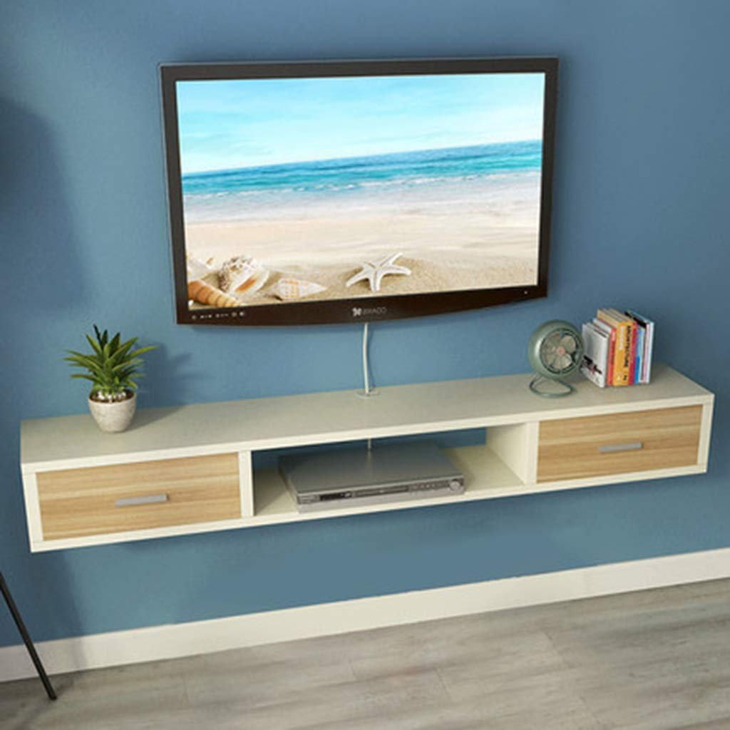 XINGPING-Shelf Simple and Stylish Bedroom Wall Hanging TV Cabinet Background Video Wall Set-top Box Rack Shelf Wall Partition with Drawer (Color : 120 [Warm White+Teak Pumping])