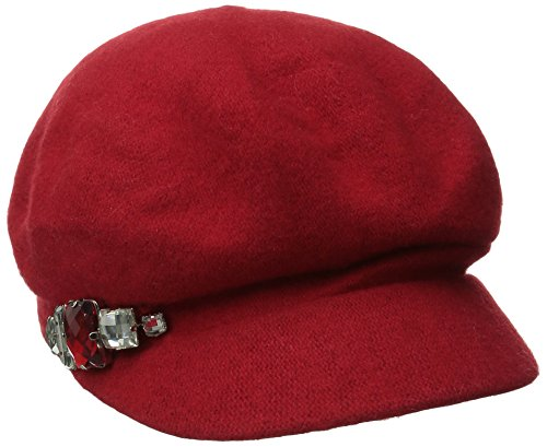 Jewel Wool (San Diego Hat Company Women's Wool Cabby with Faux Jewel Trim, Red, One Size)