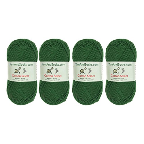 Cotton Select Sport Weight Yarn - 100% Fine Cotton - 4 Skeins - Col 408 - Four Leaf Clover Green