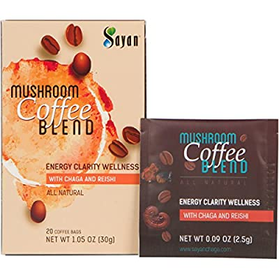 Sayan Mushroom Coffee Blend 20 Packets (0.09oz/2.5g each) 100% Organic Arabica Colombian | Organic Reishi & Siberian Chaga Extract | Powerful Immune Support Antioxidant Drink | Concentration & Focus